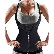 Nebility Women Waist Trainer Corset Zipper Vest Body Shaper Cincher Tank Top with Adjustable Straps (XL, Black)