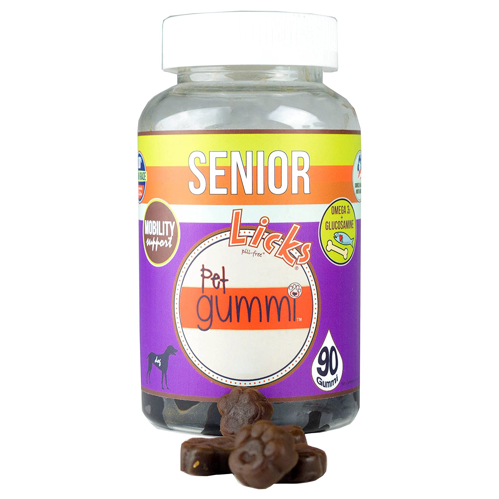 NEW! LICKS Dog Senior Pet Gummi Vitamins - - 1