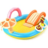 Hesung Inflatable Play Center, 98'' x 67'' x 32'' Kids Pool with Slide for Garden, Backyard Water Park, Colorful