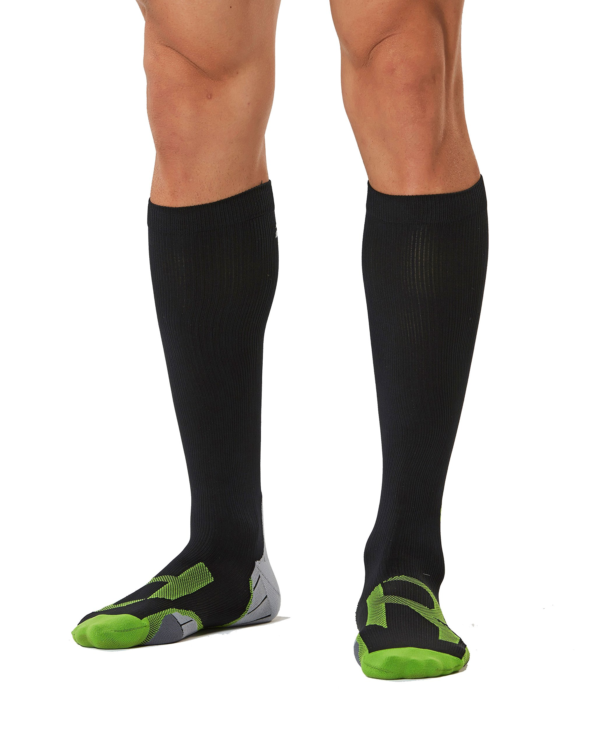 2XU Men's Compression Socks For Recovery, Black/Grey, Large