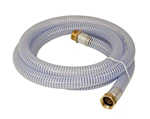 Abbott Rubber 1241-1000-10 PVC Water Suction 1-Inch by 10-Feet Transfer Hose with Threaded Couplings, Clear/White