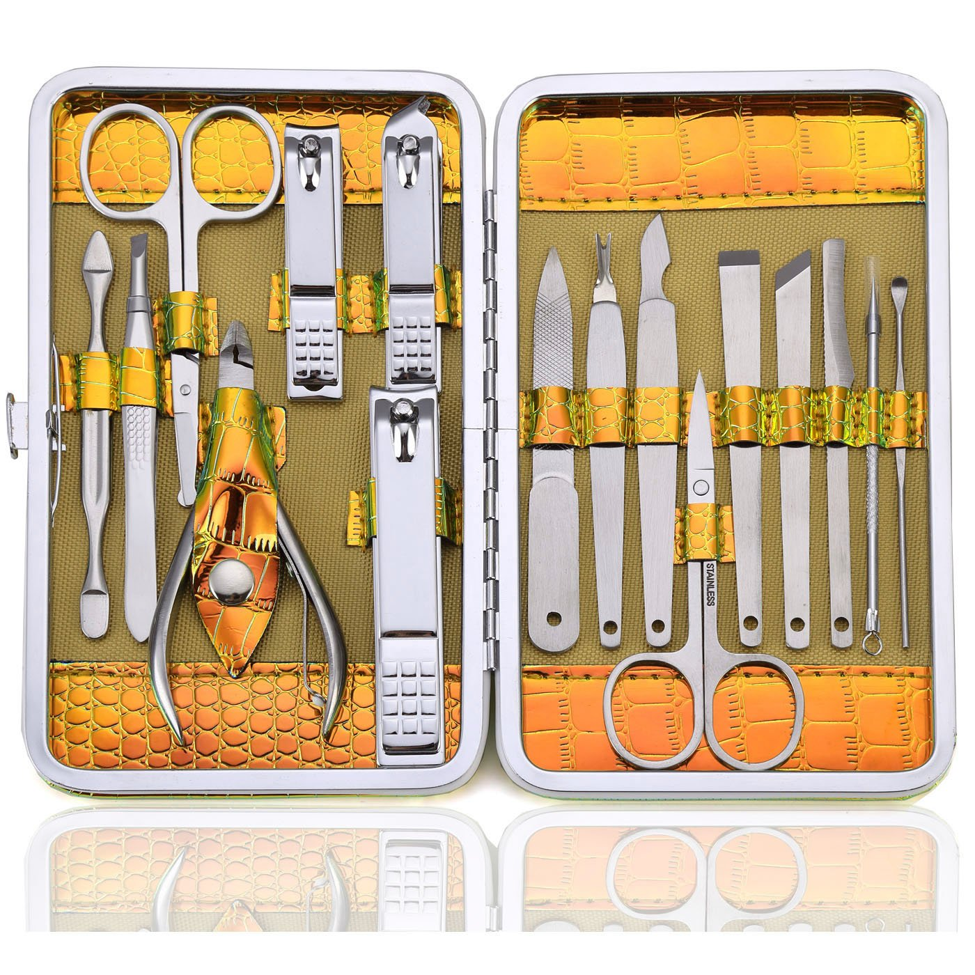 Manicure Set Nail Grooming Kit - Professional Nail Clipper Pedicure Tools 16pcs for Travel with Delicate Case for Men and Women (Gold)