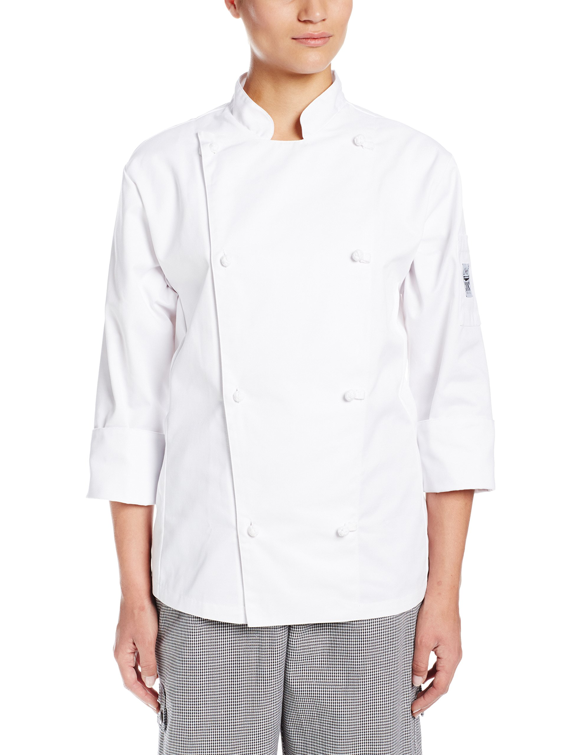 Chef Revival LJ028 Poly Cotton Knife and Steel Ladies Long Sleeve Jacket with Cloth Knot Buttons, Medium, White by Chef Revival