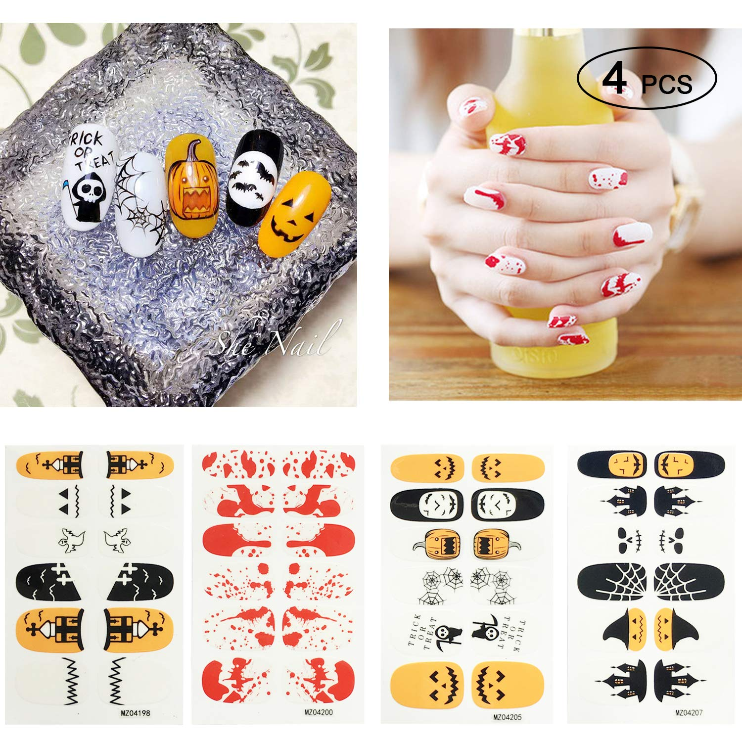 Halloween Nail Decals, Nail Art Stickers, Holiday Nail Wrap Stickers Great Variety, 4 pack nail art decals stickers, halloween decoration stickers Topgalaxy.Z