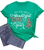 Its The Most Wonderful Time The Year Shirt Women Funny Leopard Plaid Christmas Tree T-Shirt Holiday Graphic Tee Tops