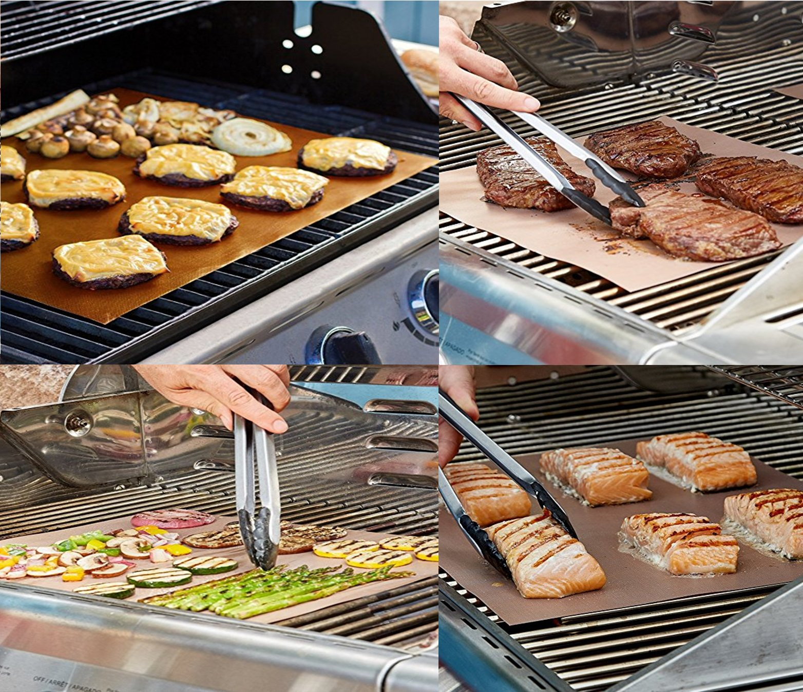 SMAID Copper Grill Mat Set of 4 - Non-Stick BBQ Grill Mats - FDA-Approved, Reusable and Easy To Clean - Works on Gas, Charcoal, Electric Grill and More - 15.75 x 13 Inch by SMAID (Image #3)