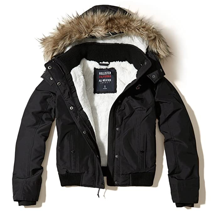 Hollister Damen All Weather Bomber Jacket Jacke Coat, Größe