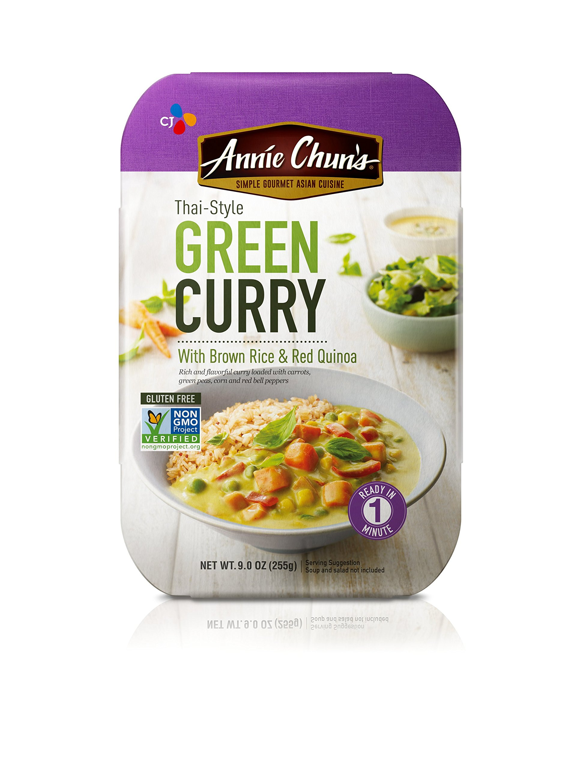 Annie Chun's Green Curry with Brown Rice & Red Quinoa, Non-GMO Gluten-Free Ready Meal, 9-oz (Pack of 6)