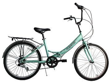 ECOSMO 24CF01G - Bicicleta plegable (para mujer, ligera, 6 velocidades)