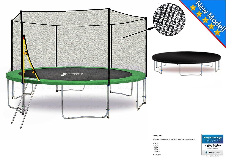 LS-T430-PA14 (GW) Lifestyle ProAktiv Garten- Trampolin 430 cm - 14ft - Extra Starkes Sicherheitsnetz - 180kg Traglast