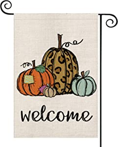 AVOIN Pumpkin Welcome Garden Flag Vertical Double Sized, Fall Thanksgiving Rustic Yard Outdoor Decoration 12.5 x 18 Inch