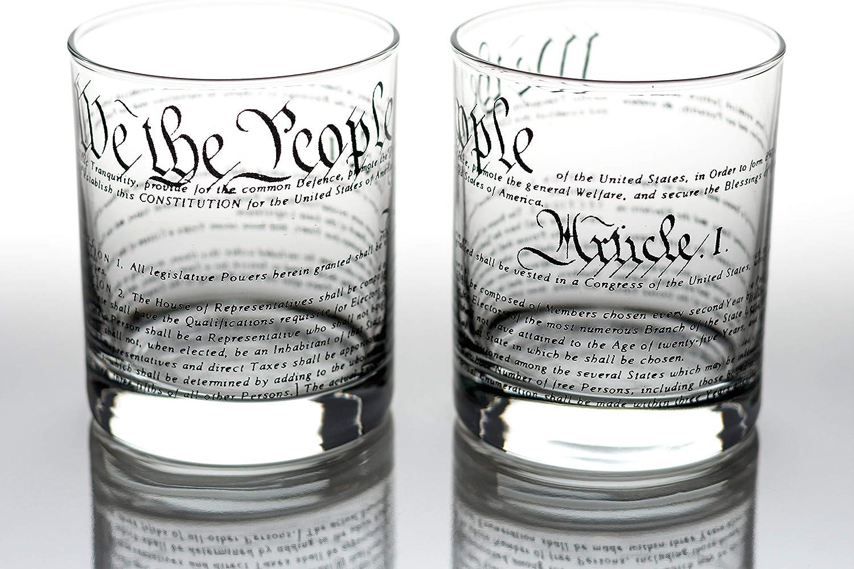 Greenline Goods Vasos de Whisky Constitución de Estados Unidos (Juego de 2)   Vasos de 10 oz - Juego de Regalo patriótico Estadounidense   Copas de ...