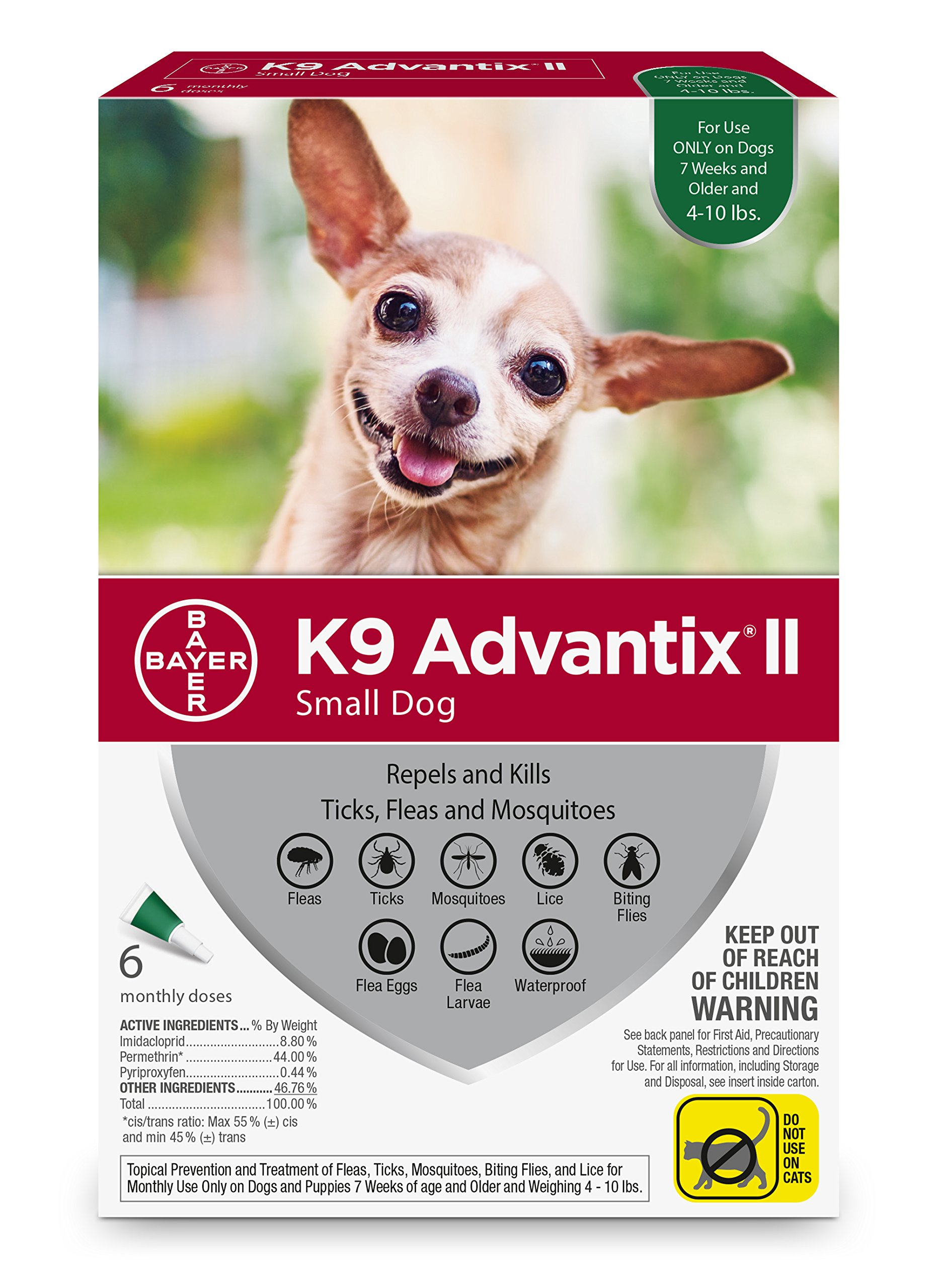 Bayer K9 Advantix II Flea, Tick and Mosquito Prevention for Small Dogs 4-10 lbs, 6 doses
