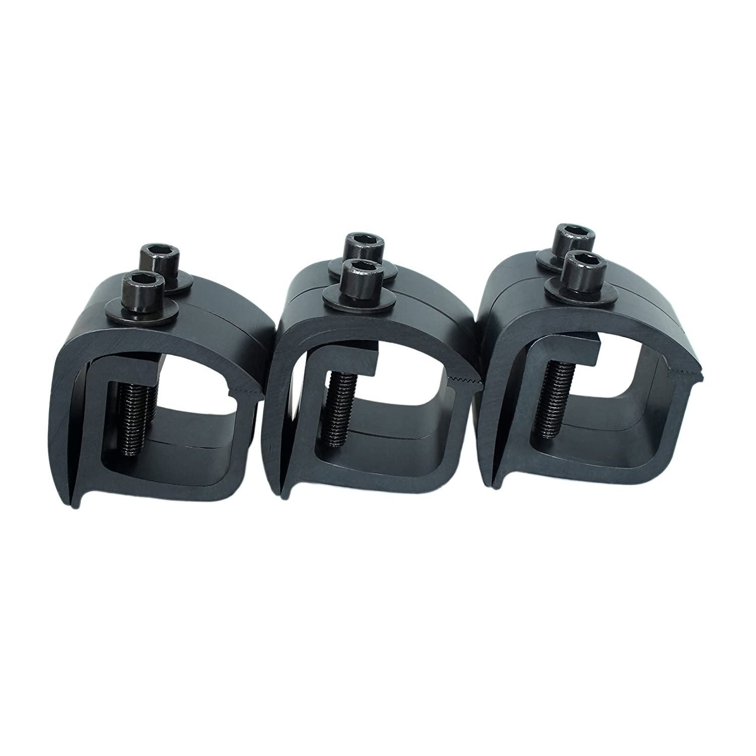 AA-Racks P-AC(4)-09 Set of 4 Aluminum C-Clamps for Non-Drilling Truck Rack & Camper Shell Installation - Black