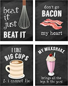 Silly Goose Gifts Funny Food Kitchen Music Lyrics Themed - Wall Art Prints Decoration (Bacon My Heart)