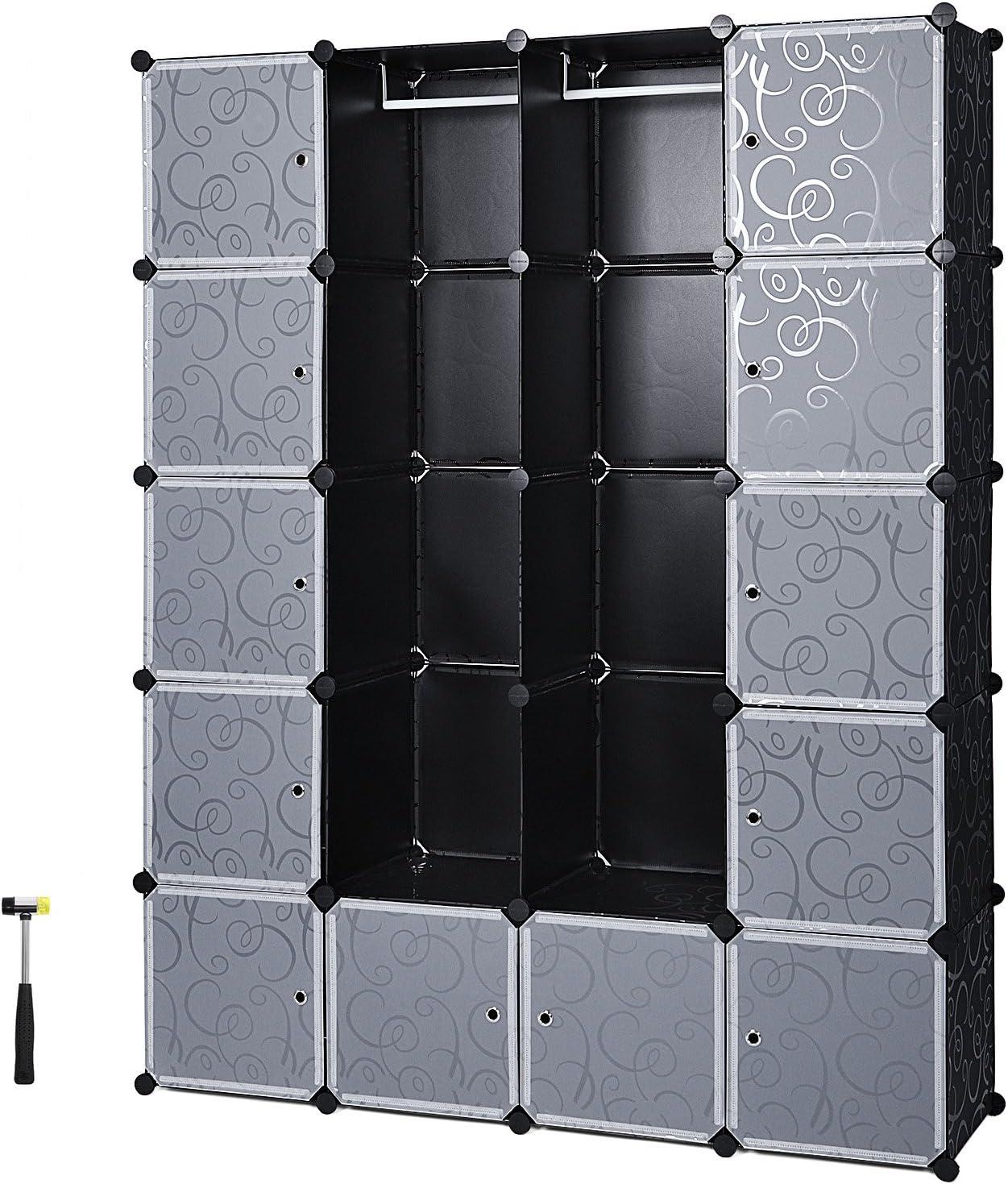 SONGMICS Armario de Almacenaje de Ropa, Estantería por Módulos, Estructuras de Cubo con Puerta, Fácil Montaje,180 x 145 x 37 cm, LPC30H