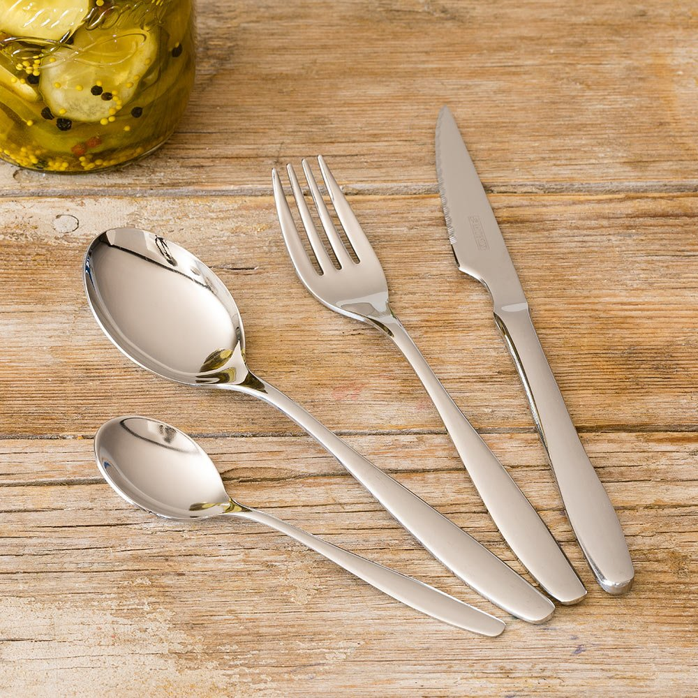 Monix Zurich - Set de cubiertos 49 piezas, cubiertos de acero inox 18/10 con cuchillo chuletero y estuche estilo Nogal: Amazon.es: Hogar
