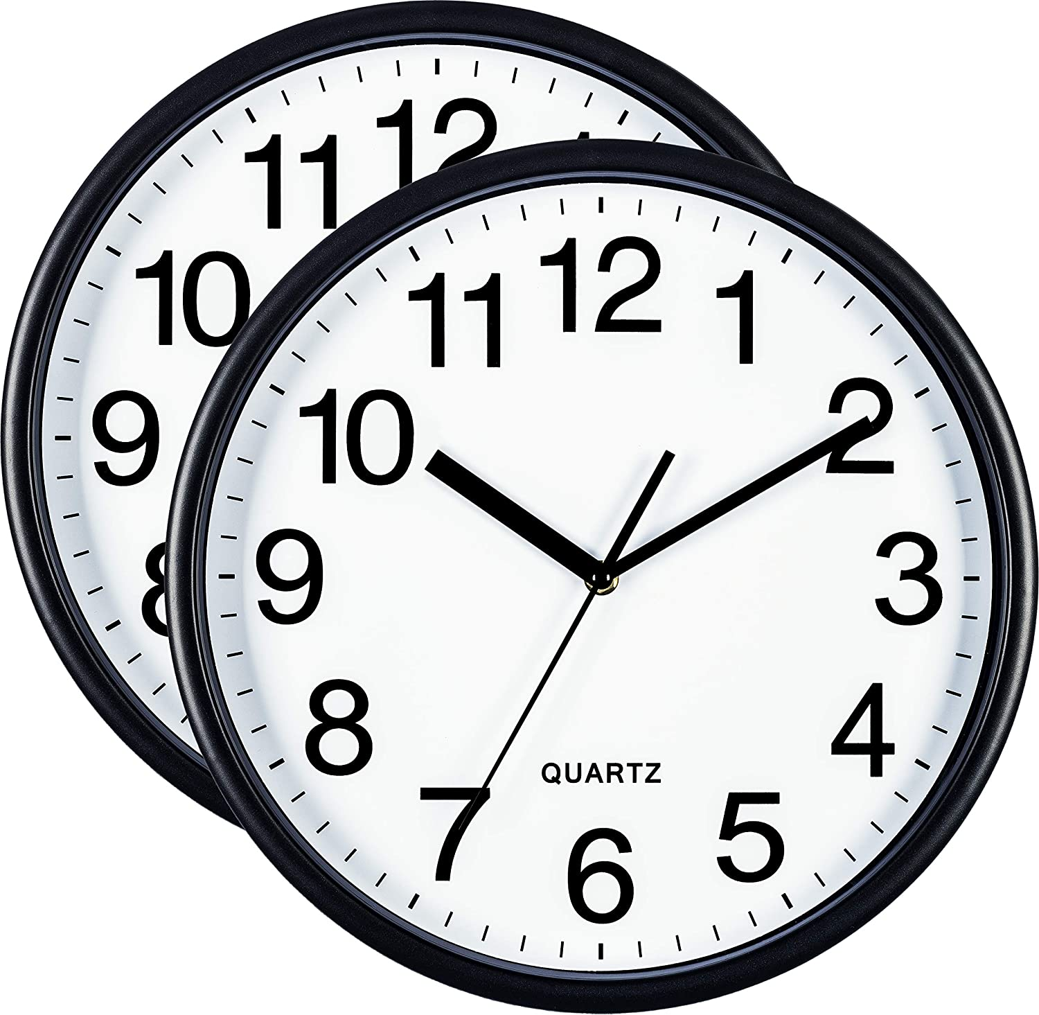 Bernhard Products Black Wall Clocks Large 13 Inch, Silent Non Ticking 2 Pack, Quality Quartz Battery Operated Round Easy to Read Home/Office/Business/Classroom/School Clock (2, 13 Inch)