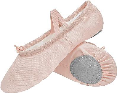 d437440fdb62 L-RUN Women s Split Belly Shoes Canvas Ballet Slippers Practice Beige