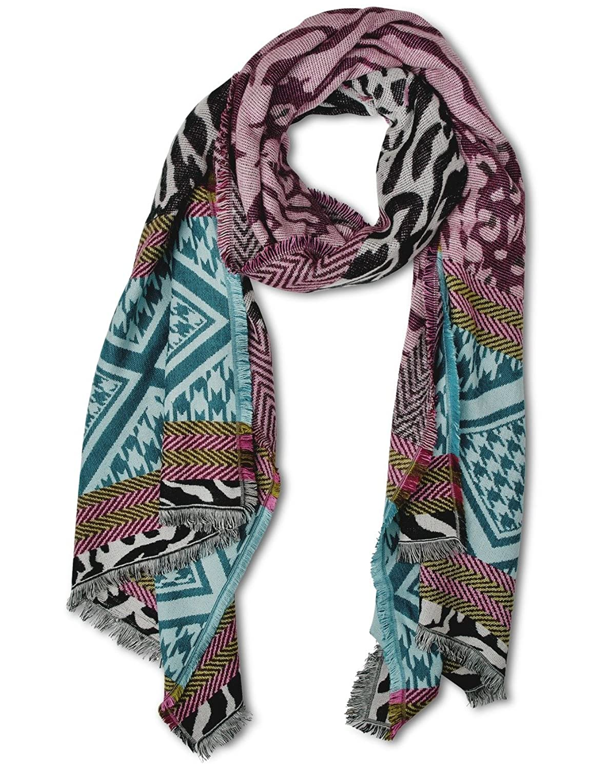 Womens Trendy Multicolour Jacquard Long Scarf, Multicoloured (Black 30001), One Size Street One