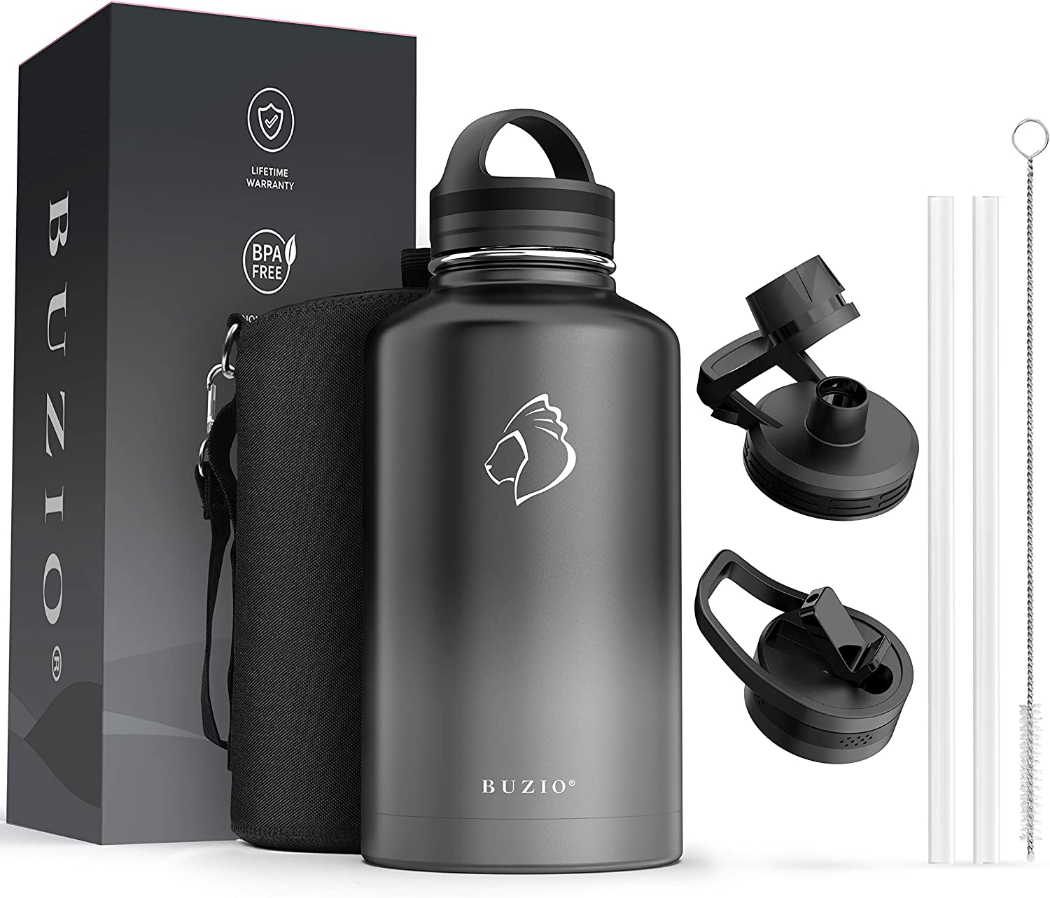 BUZIO Water Bottle with Straw lid, Spout Lid, Hand Lid and Carrying Pouch, 40oz 64oz Stainless Steel Water Flask Jug, Cold for 48 Hrs Hot for 24 Hrs Double Vacuum Thermo Canteen Mug, BPA-Free