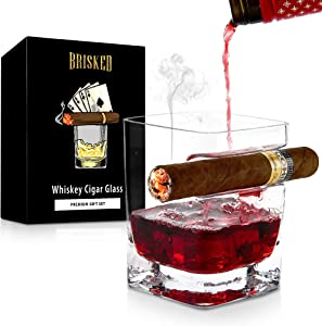 Whiskey Glass with Cigar Holder | Old Fashioned Whisky | Best Accessories & Gifts for Drinking Bourbon and Scotch