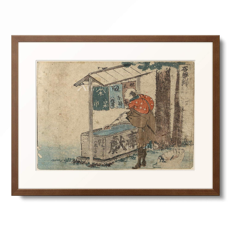 葛飾北斎 Katsushika Hokusai 「東海道五十三次 石薬師」 額装アート作品 XL(額内寸 727mm×545mm) 11.木製額 13mm(茶) B07PTZBPW4