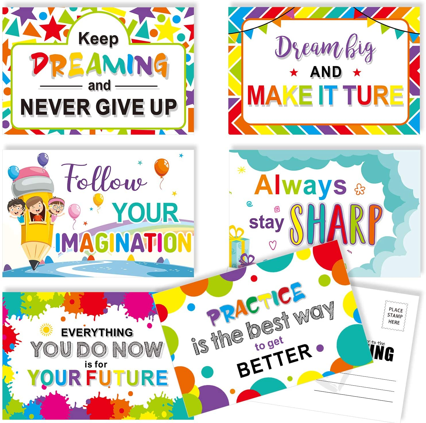Amazon Com 60 Pieces Motivational Teacher Postcards Thinking Of You Encouragement Inspirational Quote Cards For Students Back To School Note Card 6 Designs Office Products