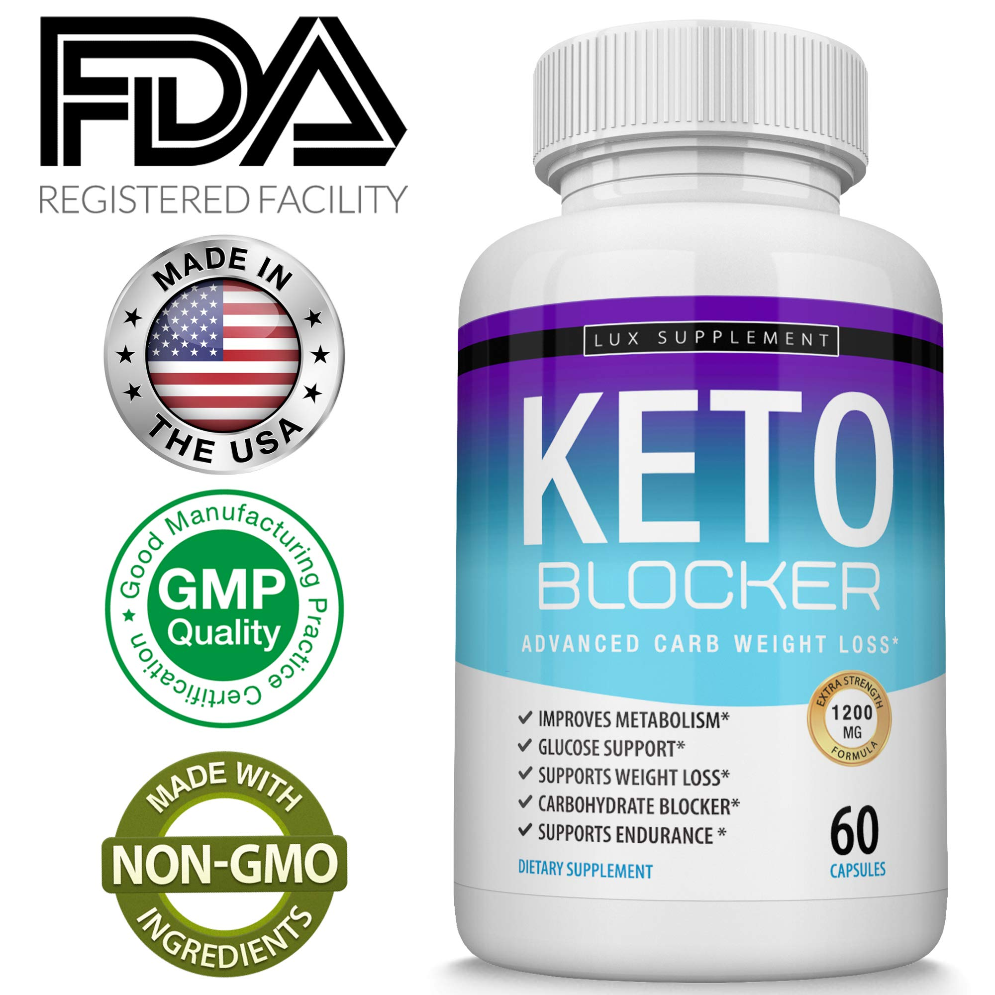 Keto Blocker Pills Advanced Carb Weight Loss - 1200 mg Natural Ketosis Fat Burner for ketogenic Diet, Suppress Appetite & Cravings, Boost Metabolism, Effective Men Women, 60 Capsules, Lux Supplement by Lux Supplement (Image #5)