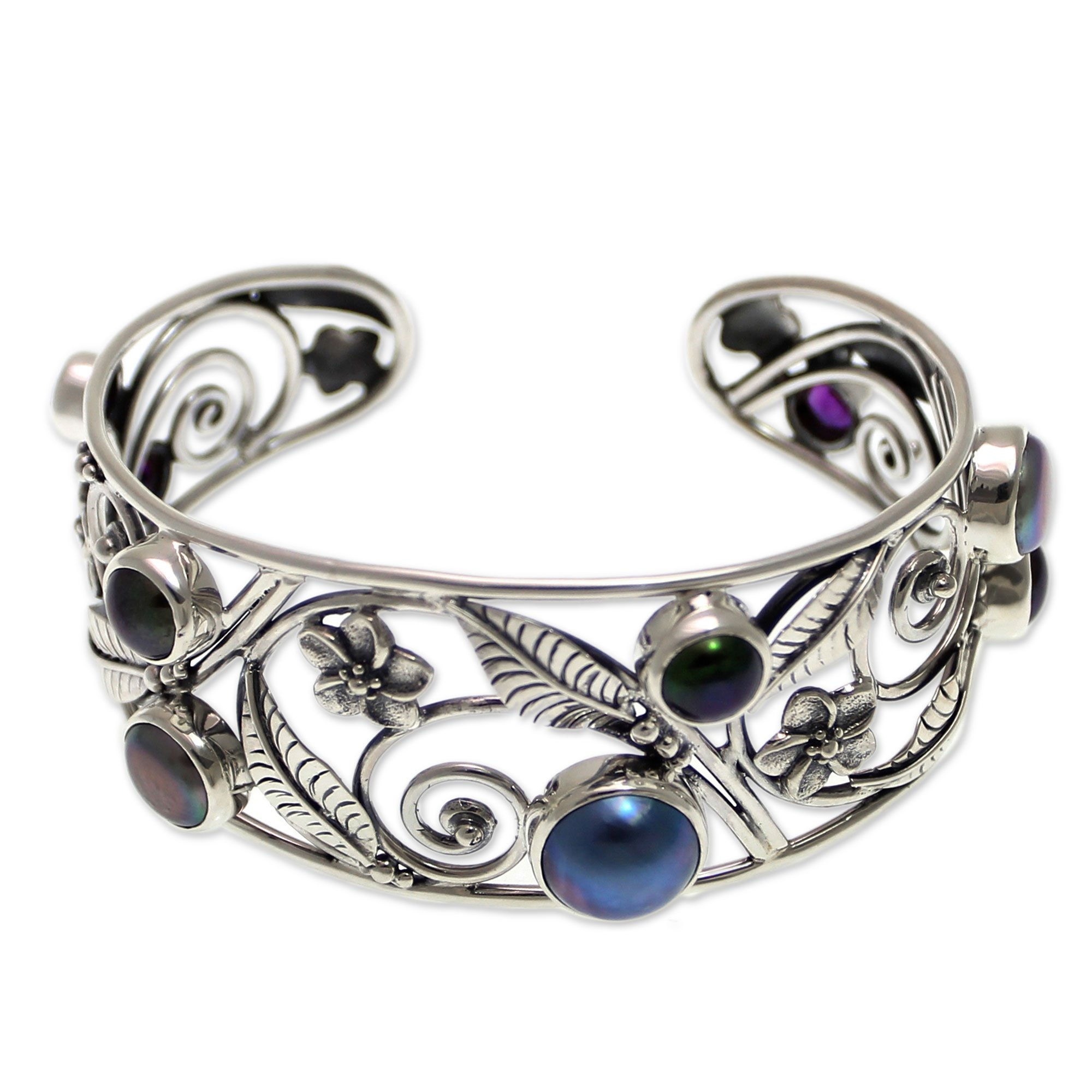 NOVICA Amethyst Cultured Mabe Pearl .925 Sterling Silver Bridal Cuff Bracelet, 'Sweet Frangipani'