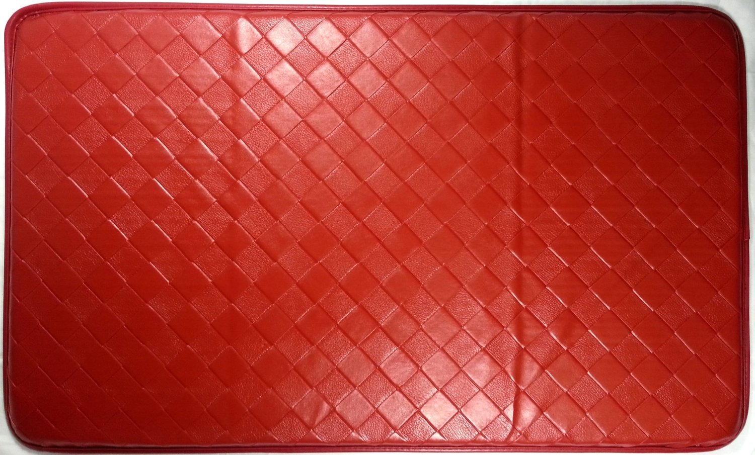 HomeElegance Chef Kitchen Comfort Feel At Ease Geometric Mat - Size: 18'' x 30'' - (Red)