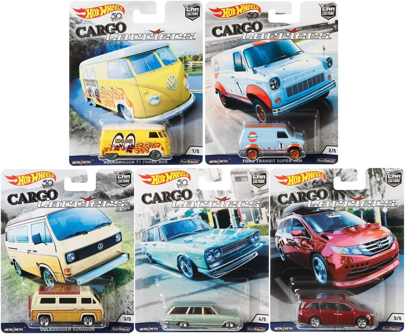 Hot Wheels Car Culture 2018 Cargo Carriers Series Premium Adult Collectible Diecast Cars, Set of 5
