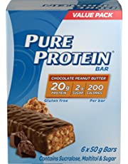 Pure Protein Bars, Gluten Free, Snack Bars, Chocolate Peanut Butter, 50 gram, 6 Count