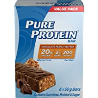 Pure Protein Bars, Gluten Free, Healthy Low Carb Snacks to Support Energy, Chocolate Peanut Butter, 50 gram, 6 Count