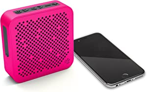 JLab Audio Crasher Mini Wireless Bluetooth Speaker   Bluetooth 2.1   18 Hour Battery Life   Water Resistant & Dust Resistant   USB + AUX Backup Available   Pink
