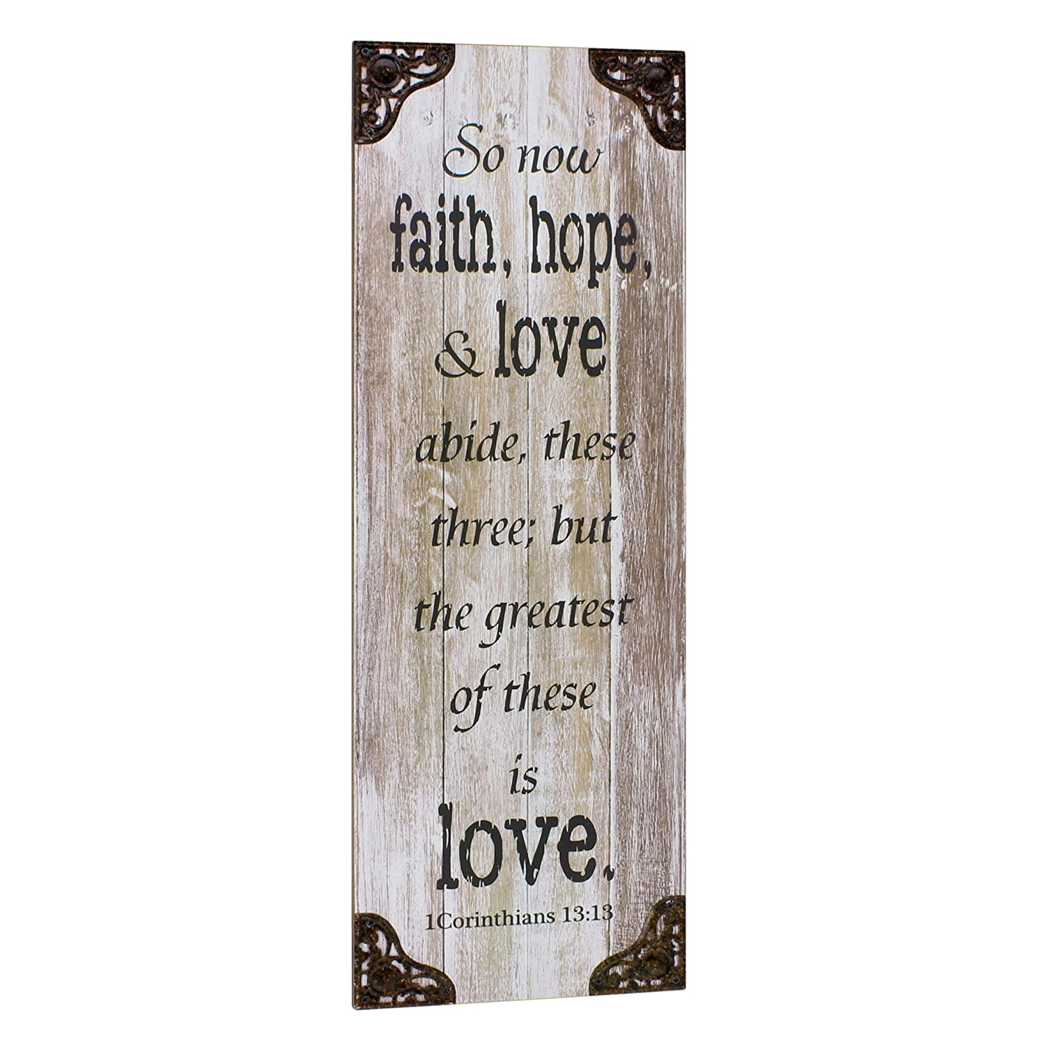 Stonebriar Accents of Faith Weathered White Wood Corinthians 13 Wall Art