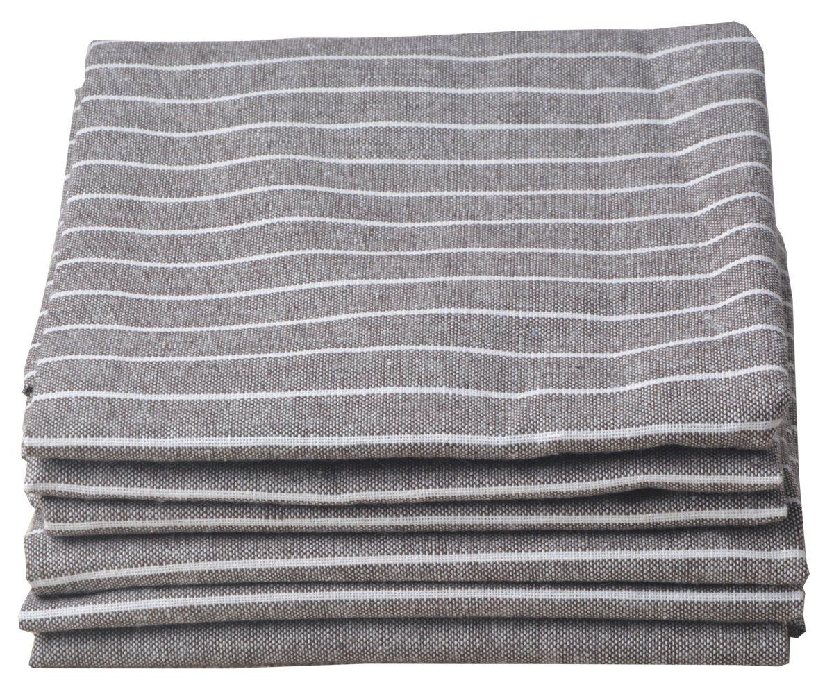 Sinland Linen Napkins Oversized Dinner Napkins Tailored with Mitered Corners Light Brown with White Stripe 20Inch x 20Inch 6 Packs by Sinland