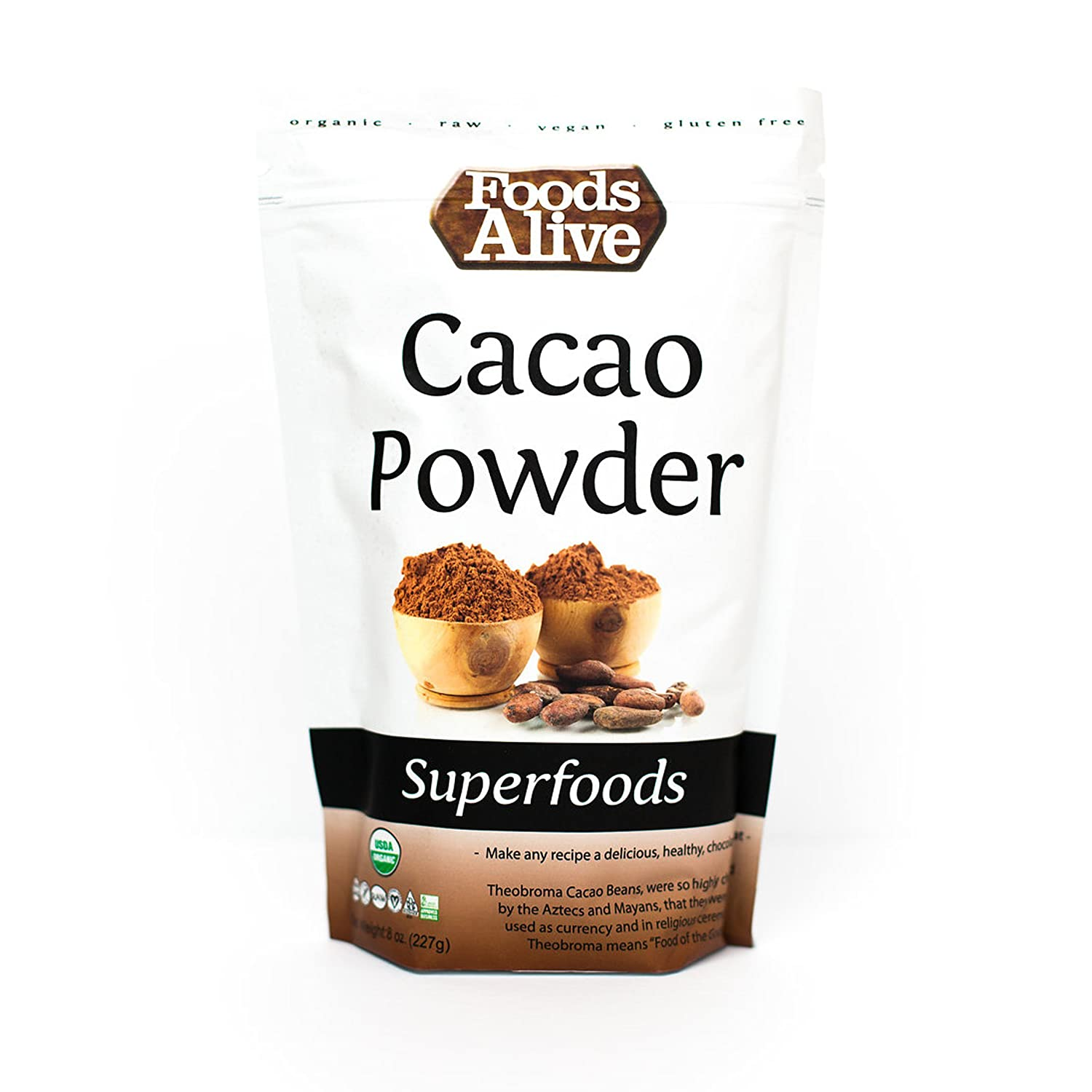 Foods Alive Organic Cacao Powder, 8 OunceBags (Pack of 2)