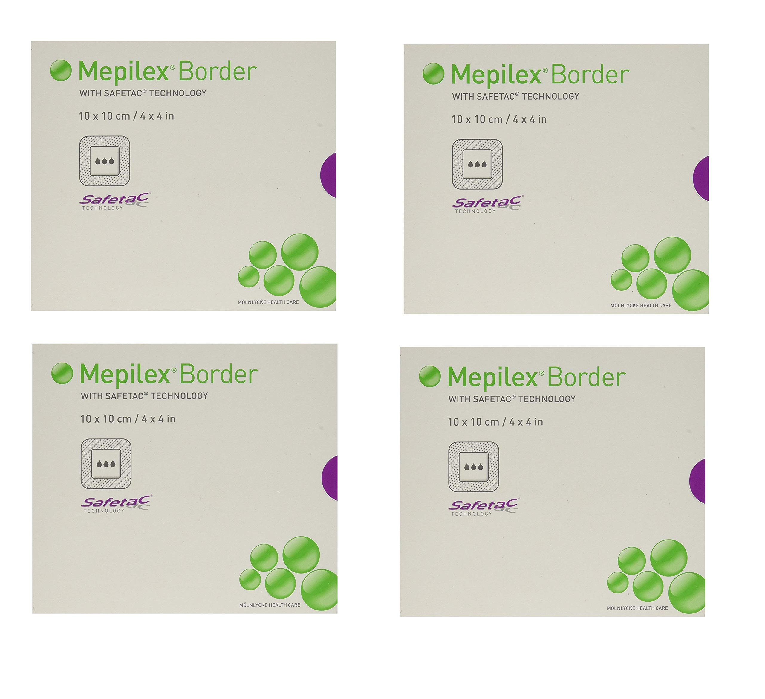 Mepilex Border Self-Adhesive Foam Dressings 4''x4'', 5 Count (4 Pack)
