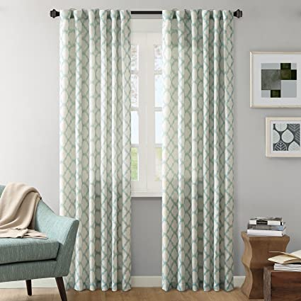 Ink+Ivy Modern Blue Curtains For Living Room, Nakita Print Rod Pocket  Window Curtains