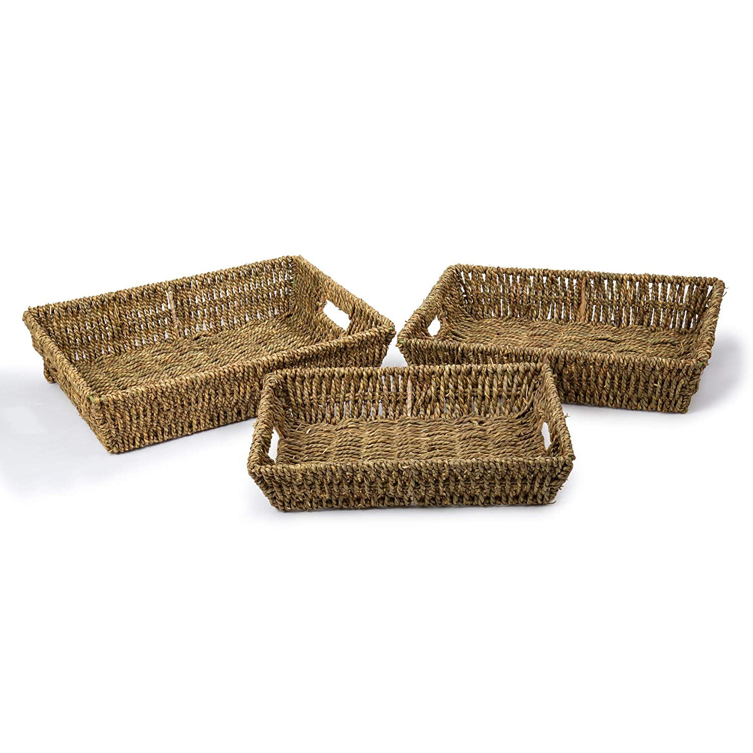 Truu Design Beige Seagrass Tray Set 15.25 x 11.75 x 3.5 inches