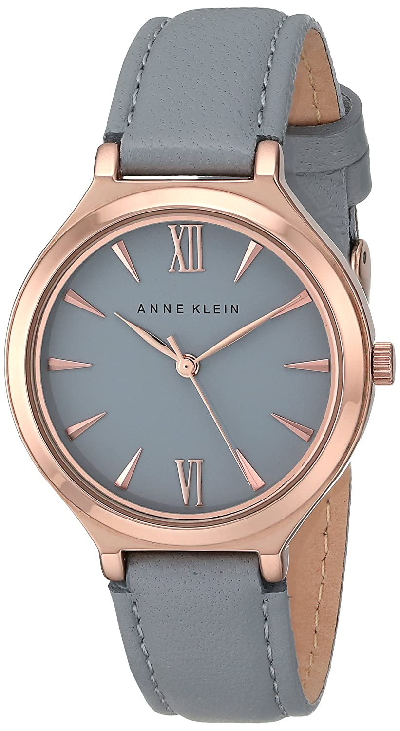 Amazon.com: Anne Klein Womens AK/1846RGGY Rose Gold-Tone and Gray Leather Strap Watch: Watches
