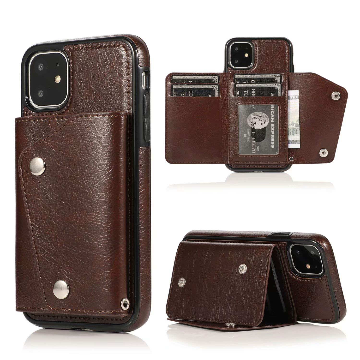 iPhone 11 Wallet Case, Ranyi Leather Wallet Case with Credit Card Holder Slots Wrist Strap Premium PU Leather Flip Folio Wallet Purse Protective Case for Apple 2019 6.1 Inch iPhone 11 (Brown) by Ranyi