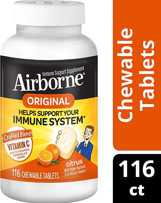 Amazon Com Vitamin C 1000mg Airborne Citrus Chewable Tablets 116 Count In A Bottle Gluten Free Immune Support Supplement And High In Antioxidants Packaging May Vary 116 Count Health Personal Care