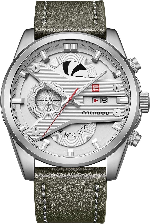 FAERDUO Hombre Sport Casual Reloj de Pulsera de Cuarzo Calendario Analgico Impermeable para Hombres con Correa de Cuero