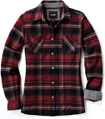 CQR by Tesla Women's Flannel Long Sleeved Button-Up Plaid 100% Cotton Brushed Shirt
