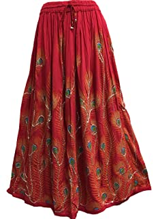 FOI Rayon Skirt Indian Hippie Rock Gypsy Jupe Retro Boho ...