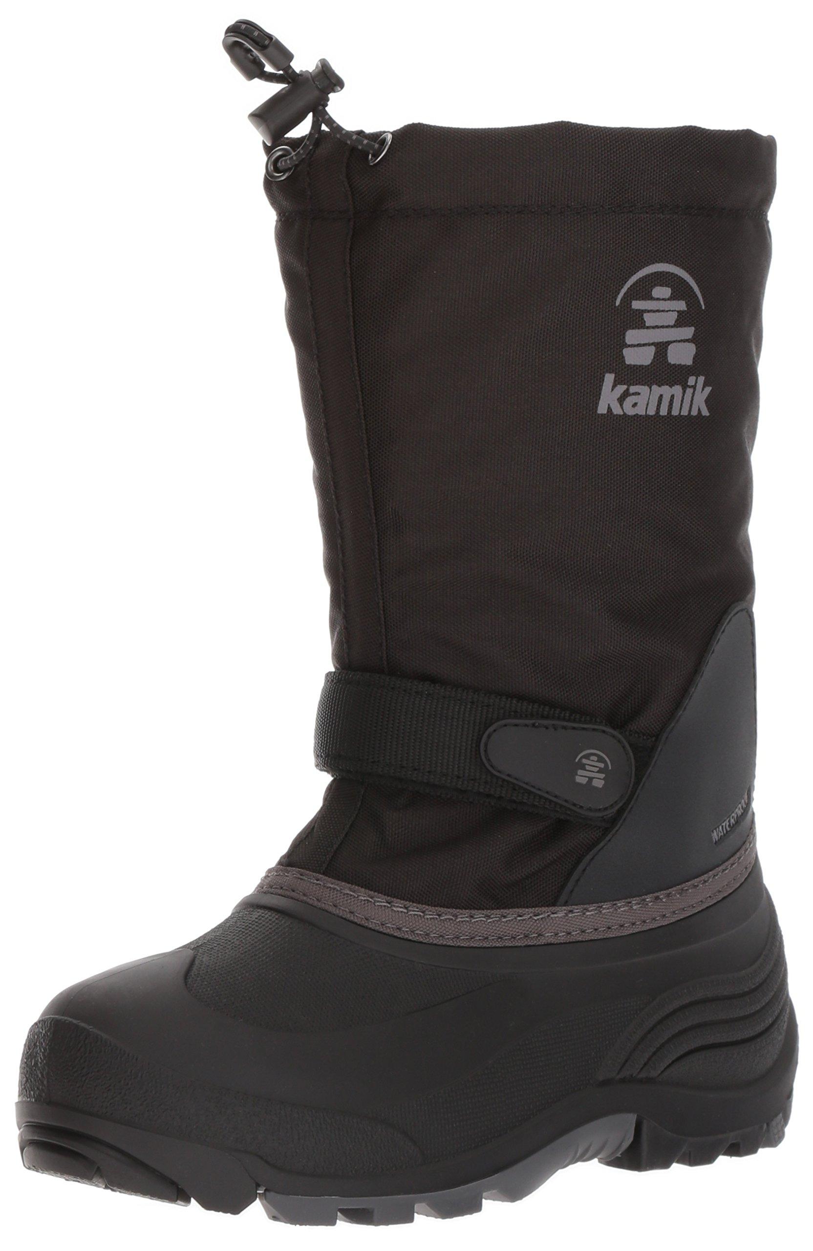 Kamik Kids Waterbug5 Snow Boot, Black/Charcoal, 5 Medium US Big Kid