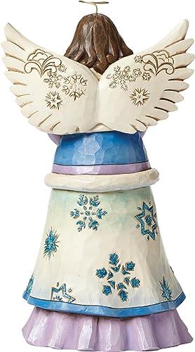Jim Shore for Enesco Heartwood Creek Angel Holding Snowflakes Figurine, 9.25