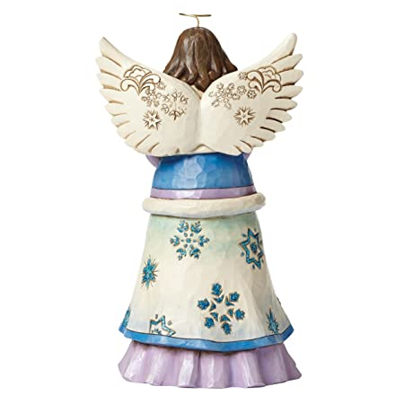 Jim Shore for Enesco Heartwood Creek Angel Holding Snowflakes Figurine, 9.25